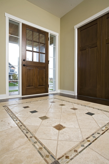Tile Foyer And Kitchen : Tile insert at foyer evan marie interiors