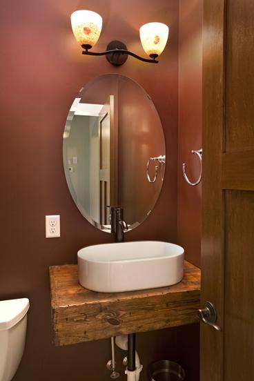 Custom Wood Floating Vanity With Porcelain Vessel Sink